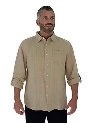 Short Fin Men's Long Sleeve Linen Shirt, with roll up Sleeves (X-Large, Khaki L8060L)