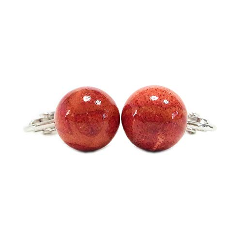 [해외]애플 산호 아프리카 산호 丸玉 귀걸이 ape-A0005 / Apple Coral African Coral Round Ball Earrings ape-A0005