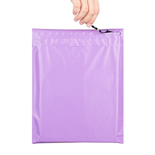 "Metronic 10x13"" New Zipper Style Easy-tear Sealing Light Purple Poly Mailer Envelopes Shipping Bags with Self Adhesive and Tear Strip, Waterproof and Tear-proof Postal Bags, 100 Pcs"