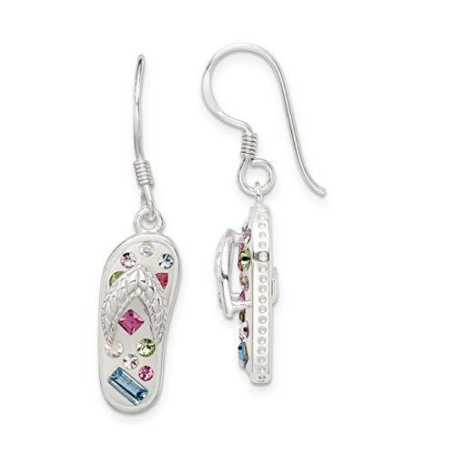 (Stellux Multi-Color Crystal White Flip Flop Shepherd Hook Earrings In 925 Sterling Silver 34x8 mm)