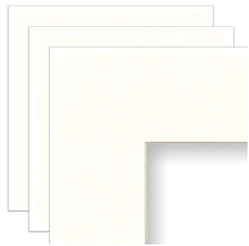 (Frame Amo 16x20 White Mat for Picture Frame, Bevel Cut for 12x16 Picture or Poster, Cream Core, 3-Pack)