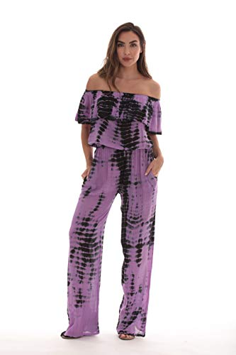 (Riviera Sun Rayon Crepe Tie Dye Jumpsuit 21893-LIL-3X Lilac )