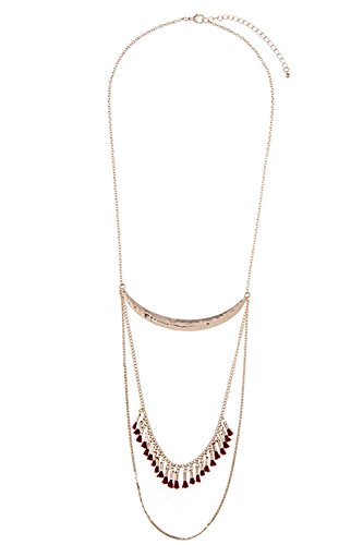 GlitZ Finery HAMMERED CRESCENT ALIGNED TASSEL ACCENT LAYERED NECKLACE (Burgundy)