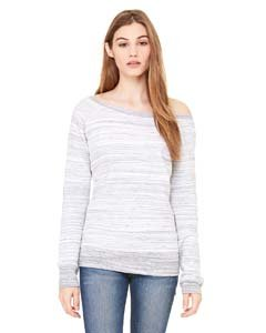 Bella 7501 Womens Sponge Fleece Wide Neck Sweatshirt - Light Grey Marble Fleece, Small