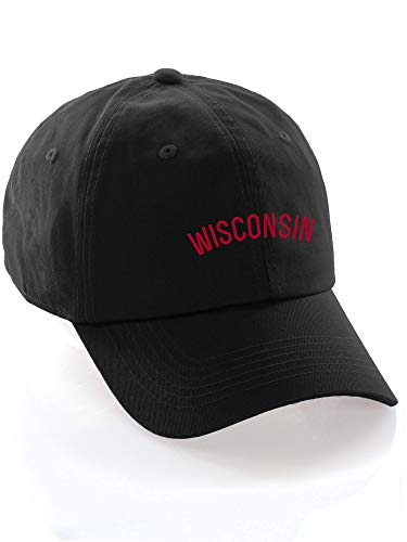 Daxton USA Cities Baseball Dad Hat Cap Cotton Unstructure Low Profile Strapback - Wisconsin Black Red ()