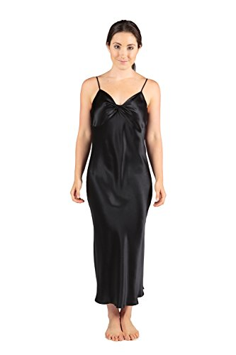 TexereSilk Women's Long Silk Nightgown (Black, Medium) Best Gifts for Her WS0401-BLK-M by TexereSilk