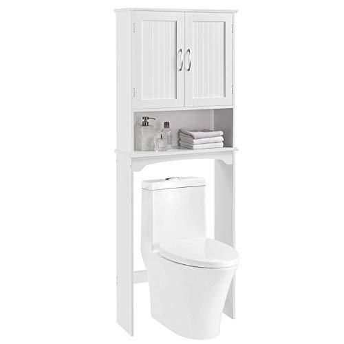 YAHEETECH Over The Toilet Cabinet, Double Door Bathroom Storage Organizer, Toilet Rack with Inner Adjustable Shelf and…