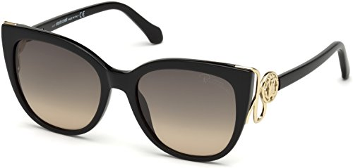 Roberto Cavalli Glasses - Roberto Cavalli 2018 Giannutri RC-1063 01B Women Black & Gold Cat-Eye Sunglasses