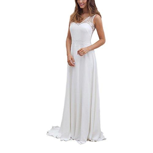 weiß Damen ABaoWedding Weiß Kleid weiß q8wwvp