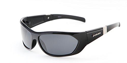 Ocean Sunglasses Hunstanton - lunettes de soleil polarisées - Monture : Noir Laqué - Verres : Fumée (18040.1) p9hP1DA