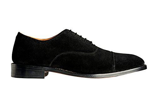 Anthony Veer Mens Clinton Cap-toe Oxford Leather Shoe in Goodyear Welted Construction (9.5 D, Black - Suede) by Anthony Veer (Image #2)