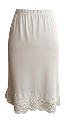 Slip Half Skirt (Lucky Love Dress and Skirt Extender with Lace Trim (Medium, Cream Scallop Lace))