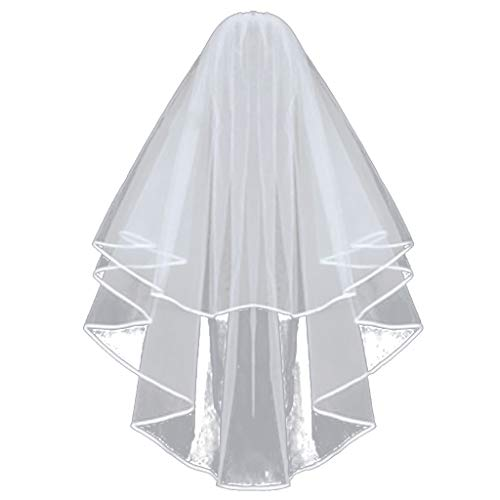 (Landscap Bridal Wedding Veil White Double Ribbon Edge Center Cascade Bridal Supplies With)