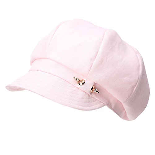 - Siggi Womans Linen/Cotton Summer Spring Newsboy Cabbie Cap Ladies Beret Hat Pink
