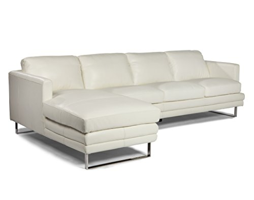 Lazzaro Leather Melbourne Collection WH-1003-32-33-3500 White Leather RSF Sofa & LSF Chaise
