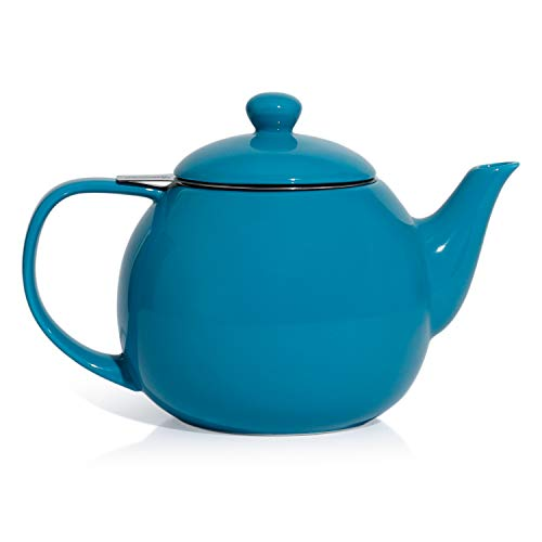 (Sweese 2317 Teapot, Porcelain Tea Pot with Stainless Steel Infuser, Blooming & Loose Leaf Teapot - 27ounce, Steel Blue)