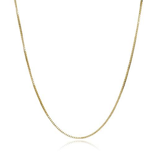 Amber by Graciana 14k Yellow Gold Box Venetian Chain 0.8 mm 18 Inches