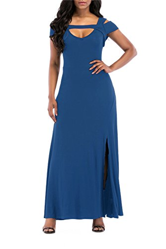 S Full prussian Maxi V Neck Sleeve Short Cold ONLYSHE Women's Shoulder Length Party Dress Blue Formal wUO6qwz0AW