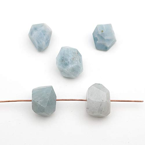 5 Pcs Light Blue Faceted Nugget Side Drilled Aquamarine Beads Avg Size - Bead Aquamarine Nugget Faceted