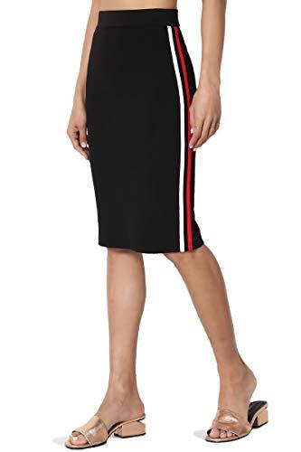 (TheMogan Junior's Racer Side Stripe Stretch Ponte Knit Midi Pencil Skirt Black S)