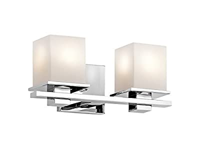 Kichler 45150CH Tully 2-Light Vanity Fixture and Satin Etched Cased Opal Glass