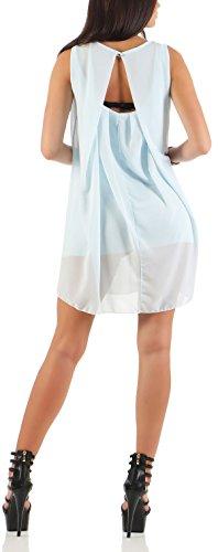 mailto Vestido elegante chifón transparente 6877 Mujer Talla Ùnica azul claro