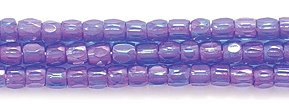 (Preciosa Ornela Czech 3-Cut Style Seed Glass Bead, Size 9/0, Color Lined Amethyst Aurora Borealis)