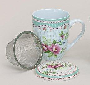 Teetasse Mit Sieb teetasse mit sieb und deckel porzellan floral weiß grün amazon de