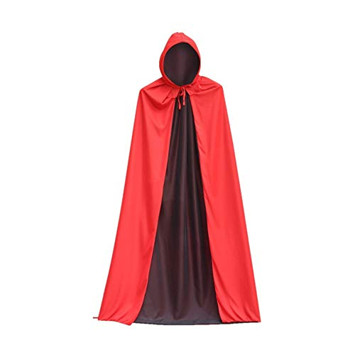 Double Face Halloween (Lucky Eavon Unisex Hooded Halloween Cloak for Christmas Cosplay Double-Face Black Red Knitted)