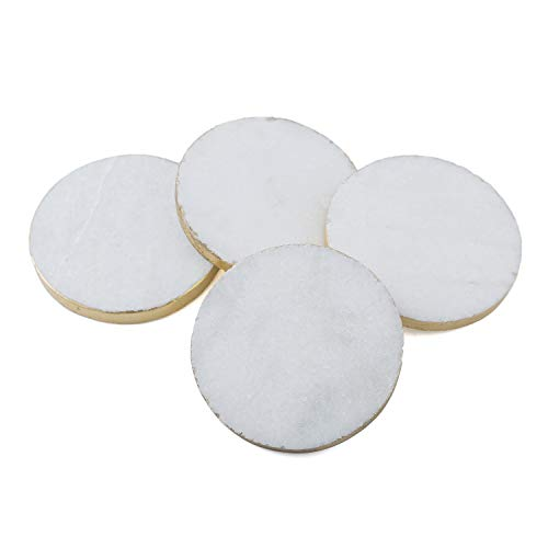 (Thirstystone Round White Marble/Gold Edged Coasters (Set of 4), Multicolor)