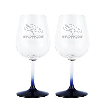 Amazon.com: NFL Denver Broncos boelter Vino vidrio (2-Pack ...