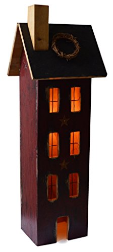 (Furniture Barn USA American Primitive Rustic Light Up Tall Saltbox House - Multiple Paint Options!)