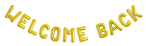 Cheap  WELCOME BACK Gold Mylar Balloon Banner | Return Party Sign Decoration