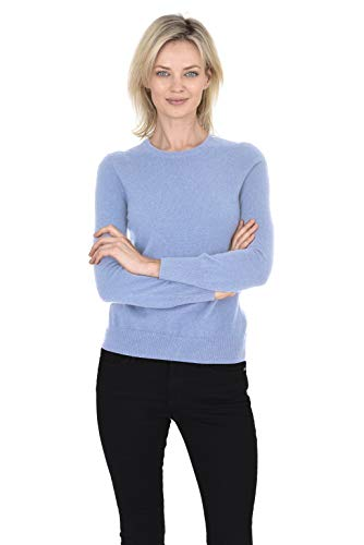 Cashmeren Women's 100% Pure Cashmere Classic Knit Soft Long Sleeve Crew Neck Pullover Sweater (Baby Blue, Medium)