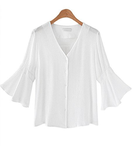 Large Bell Tip - Womens Loose Solid Blouses V-Neck Bell Sleeve T-Shirts Tops,Large,White
