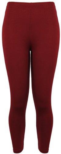 Damen Leggings Plus Größen Lässige Freizeit Stretch Hosen Einfarbig Lang Neu Weinrot