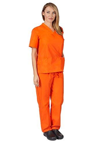 (M&M SCRUBS Women Scrub Set Medical Scrub Top and Pants.. RUN LARGE (S, Orange))