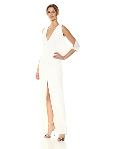 Halston Heritage Women's Cape Sleeve Deep V Neck Open Back Gown, Chalk, 4 ()