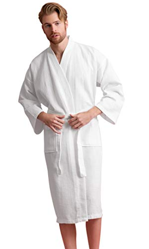 - Men's Robe, Long Waffle Spa Bathrobe, Square Pattern (White, XX-Large)