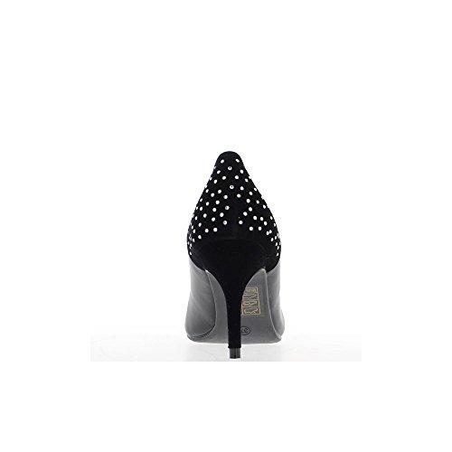 Escarpins noirs strass bi matière pointus à talon de 8,5cm