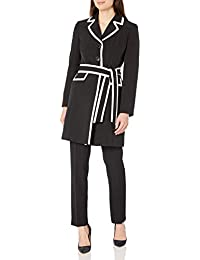 Women's 3 Button Piped Belted Crepe Topper Slim Pant Suit
