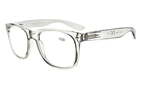 Eyekepper Comfortable Readers Spring Hinges Large Simple Reading Glasses RX Magnification (Grey Frame, - Rx Reading Glasses