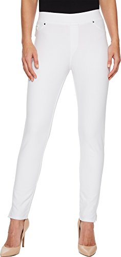 (Mod-O-Doc Women's Stretch Knit Twill Skinny Ankle Length Pants White X-Small 28)