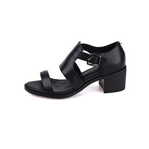 VogueZone009 Women's Kitten-Heels Soft Material Solid Zipper Peep Toe Sandals Black jXLvTv