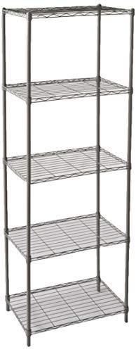 Home Basics Wire Shelving Storage Unit (5 Tier, Grey)