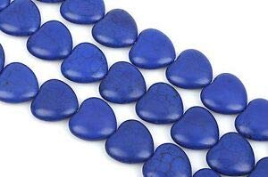 Gemstone 12mm Dark Blue Puffed Heart Beads 1 Long Strand. 33 Beads how0299 Crafting Key Chain Bracelet Necklace Jewelry Accessories Pendants (12mm Heart Charm Puffed)