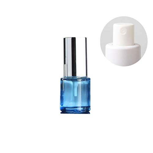 (1PCS 20ml/0.7oz Empty Refillable Blue Glass Mist Spray Bottle Perfume Sprayer Atomizer Cosmetics Container Dispenser Jar Pot Vials Holder with Silver Cap for Fragrance Toner Pure Dew Emollient Water )
