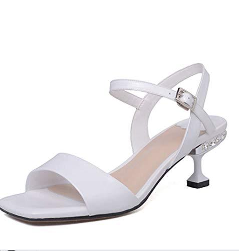 Del Imitación Cm Boca De Blanco Altura Coreano Sandalias Mujer Tacón Verano 6 Pez Stilettos Estilo Diamantes xYqwTP4w