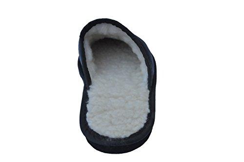 Marited Herren / Damen Natürlich Leder Schwarz Pantoffeln Hausschuhe 100 % Wolle