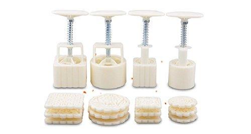Hewnda 4 sets Manual pressure moon cake mold baking mold (including 12 flower Kitchen DIY baking decoration tools - Bakeware